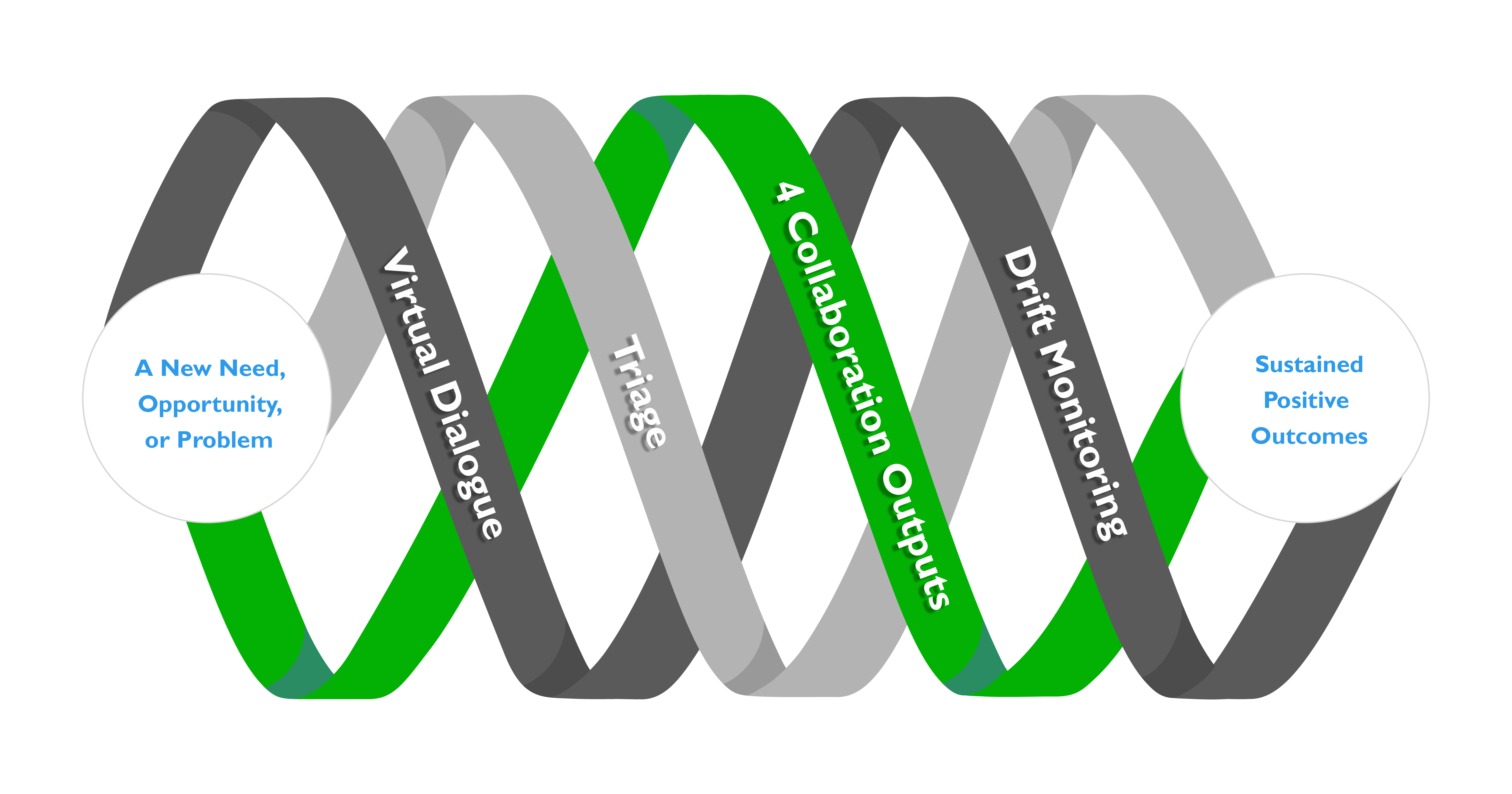 This image is SchellingPoint's Triple Helix of Project Collaboration - in this case highlighting examples of Advanced Consulting Process support for projects.